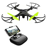 Potensic Drone con Telecamera HD, Avión con Wifi 2.4GHz FPV, RC Quadcopter Videocámara RTF Suspensión de Altura, Modo sin Cabeza, Flip 3D, U42W, Negro y Verde