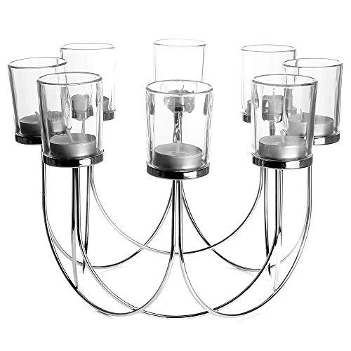 Candelabro 8 Té Ligero   Decoración de centro de mesa, boda y navidad   Moderno gótico con estilo de hierro y vidrio Tealight Stand   M&W (Cromo)