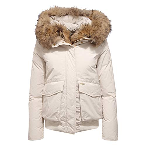 Woolrich 7397X Giubbotto Donna Bomber Military Parka White Jacket Woman [XS]