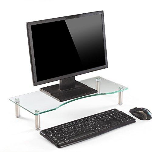 Ttap, ripiano in vetro trasparente per monitor di computer e TV, regolabile in altezza, 56 cm di...