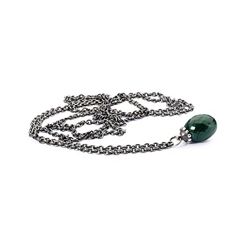 Trollbeads Collana da donna con ciondolo, argento 925 , Argento, colore: Argento/verde, cod. TAGFA-00038
