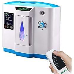 Vogvigo Portable Concentrador y generador de oxígeno 1-6L/min Oxygen Oxígeno de alta pureza Máquina Purificador de aire 90% de alta pureza para Hogar Hospital el coche y viaje (220V- Negro) … (Azul)