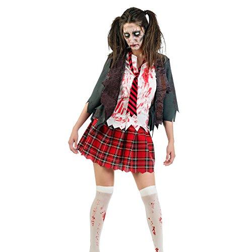 Disfraz de zomb chica de instituto disfraz de terror de 3 piezas de señora chaqueta con camisa falda y corbata para carnaval Halloween y fiestas temáticas - S