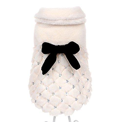 Muodu - Cappotto invernale elegante ed esclusivo con fiocco per animali domestici, gatti e cani...