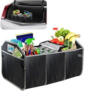 Novicz Car Trunk Cargo Picnic Trip Organizer Storage Folding Box Water Bottle Holder Grocery Bag (Black)