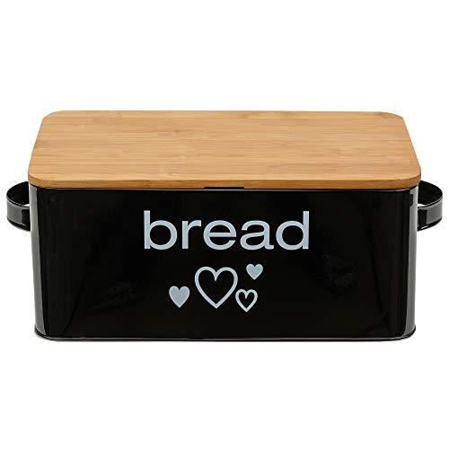 Geräumiger Brotkasten aus Metall in Farbe Schwarz mit Bambusdeckel als Schneiderbrett Maße 33x18x12cm mit Luftzirkulation