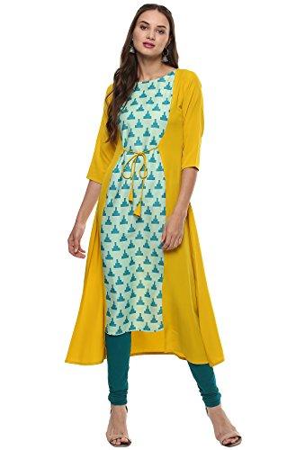 Janasya Women's A-Line Crepe Kurta (JNE1975-KR-309_Yellow_L)