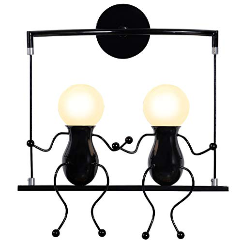KAWELL Humanoid Kreative Wandleuchte Moderne Wandlampe Einfache Kerzen Wandleuchten Art Deco Max 60W E27 für Kinder Zimmer, Schlafzimmer, Treppen, Flur, Restaurant, Küche, Swing Schwarz x2