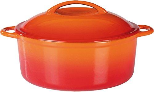 GSW Shadow Pentola con Coperchio, capienza 4 l, in ghisa, Colore Arancione e Crema, 24cm,...