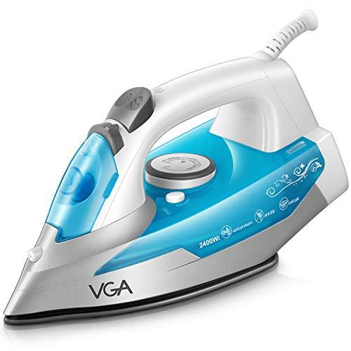 VGA Fer à Repasser 2400W - 300 ml - Bleu (anti-tartre, système anti-goutte, fonction d'auto-nettoyage)