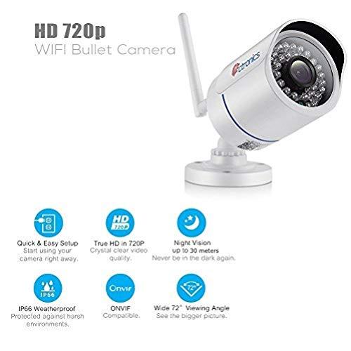 Ctronics Telecamera di sorveglianza IP Camera Videosorveglianza, Wireless Telecamera di sicurezza WIFI Visibilità notturna a 30m, Impermeabile IP66, Telecamera installazione interna ed esterna (720P WIFI)