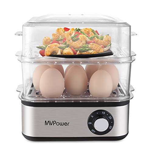 MVPower Cuociuova a doppio strato, multifunzione, elettrico, per 1 - 16 uova, in acciaio inox, per...