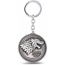 Juego de Tronos Casa Stark Lobo llavero juego de tronos disfraz Prop Llaveros, plata
