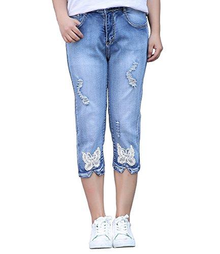 Bestor Fashion Denim flaco apenado destruido lavado elegante del vintage de las mujeres Capris Pantalones cortos bordados mariposa del dril de algodón (40, Azul)