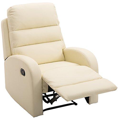 HOMCOM Poltrona Relax Reclinabile con Poggiapiedi Ecopelle 80 × 91 × 102cm Crema