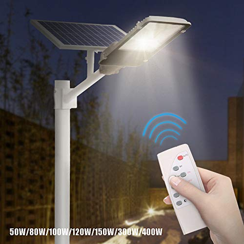 SOLIGHTS LED Lampione Stradale,50W~400W Luci Solari Esterno con Angolo Regolabile Pannello Solare E...