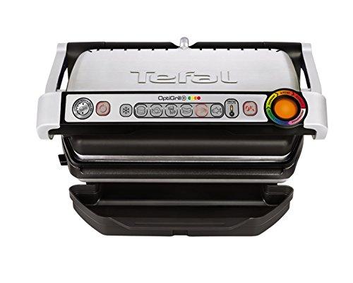 Tefal GC712D OptiGrill Kontaktgrill, 2,000 Watt, schwarz/silber