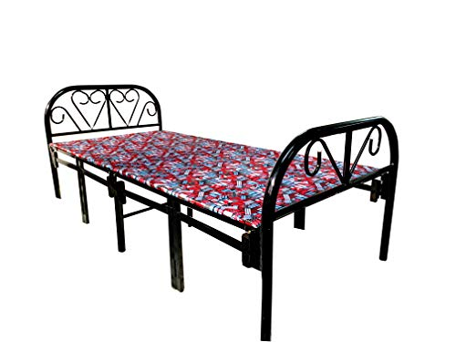 Sahni Portable furniture Single Folding Steel Bed with Mattress Red Color (188 cm x 91cm)
