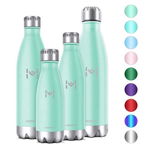 HOMPO Bottiglia Acqua in Acciaio Inox Borraccia Termica Isolamento Sottovuoto a Doppia Parete,Privo di BPA & Leakproof, Borracce per Bambini, Bici, Palestra(Verde Chiaro, 500ml)