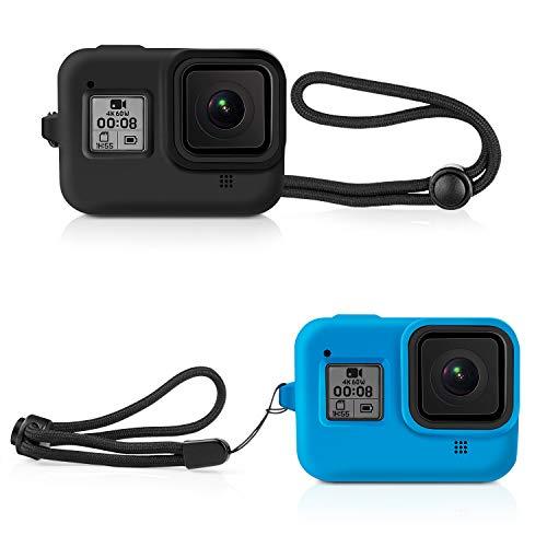 Deyard Custodia protettiva in gomma di silicone per GoPro Hero 8 Black Action Camera, custodia protettiva per GoPro Hero 8, nero e blu