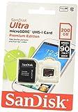 Sandisk Scheda di Memoria MicroSDXC UHS-I Classe 10da 200 GB Xc con Adattatore SD, Classe 10, Rosso/Argento, [Vecchio Modello]