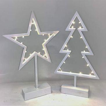Link 1x Blanc étoile 39cm de Hauteur x 26Large et 1x Arbre de Noël Décorations DE 39cm de Hauteur x 21cm de Large avec lumières LED Micro (Fonctionne avec 3Piles AA, Non Inclus