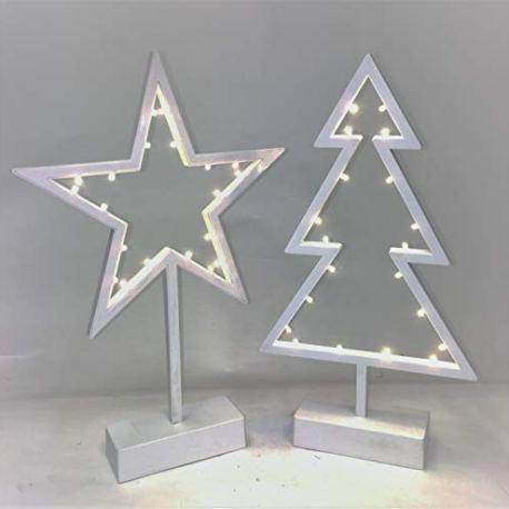 Link-1-x-Blanc-toile-39-cm-de-Hauteur-x-26-Large-et-1-x-Arbre-de-Nol-Dcorations-DE-39-cm-de-Hauteur-x-21-cm-de-Large-avec-lumires-LED-Micro-Fonctionne-avec-3-Piles-AA-Non-Inclus