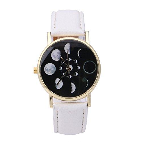 Demiawaking, orologio analogico da polso al quarzo elegante, con luna, con fasi lunari, eclissi, modello unisex, da uomo, da donna, cinturino in pelle artificiale, studenti, idea regalo