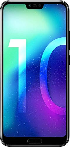 "Honor 10 - Smartphone Android (pantalla de 5,84"" 19:9, 4G, cámara trasera 16+24Mpx y frontal 24Mpx, 4GB RAM, 64GB ROM, lector de huellas, desbloqueo facial, Octa Core, 3400 mAh), negro"