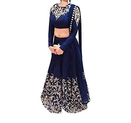 Apnisha Women's Georgette Lehenga Choli (APLE_Prachi _Blue _Free Size)