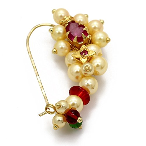 Amaal Traditional Maharashtrian Nath Jewellery Sets Pearl Gold Nath Nose Rings for Girls Women Nose Ring-A7112 1  Amaal Traditional Maharashtrian Nath Jewellery Sets Pearl Gold Nath Nose Rings for Girls Women Nose Ring-A7112 41Dt55JP9cL
