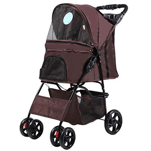 BTCS-X Pet Dog Cat Animal Passeggino |Pieghevole con il cestino di immagazzinaggio |Viaggi veterinaria Passeggino disabili Dog Passeggino |Anteriore girevole ruota e freno posteriore (Brown) cane vago