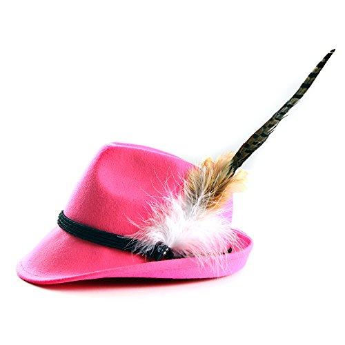 ALMBOCK Trachtenhut Damen mit Feder | Trachtenhüte in vielen Farben und den Größen S M L | Trachten Hut hergestellt aus Woll-Filz (S (54cm), Pink | Modell H9) - 2