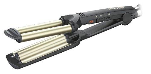 BaByliss C260E - Plancha de pelo para ondas profesionales, revestimiento de cerámica y titanio, hasta 200º C
