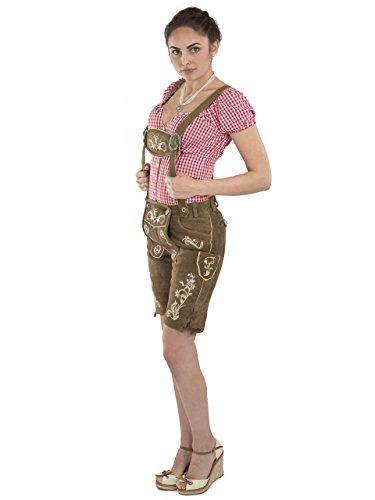 Damen Wiesnzauber Lederhose braun mittellange Trachtenlederhosen Oktoberfest Trachtenhose (44, Dunkelbraun) - 2