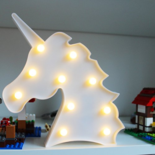 Kamaca - Luci LED a Forma di Unicorno, 10 LED Luminosi, Luce Bianca Calda, in Confezione di Cartone...