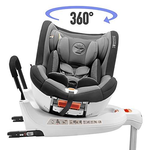 Seggiolino Auto Girevole 0-18kg, 360°, Isofix, Gruppo 0+/1, Norma ECE R44/4 (Massima Sicurezza per...