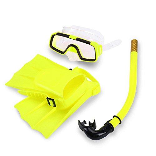 Set Yosoo bambini nuoto in silicone + pinne immersioni Scuba Sub + boccaglio maschera boccaglio occhiali da sole in silicone Set per 3 - 6 anno EU-taglia bambino: 25-30