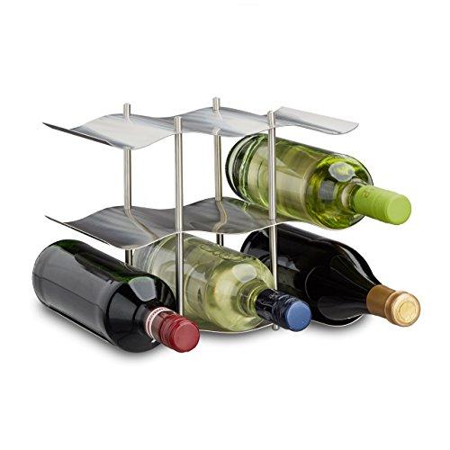 Relaxdays portabottiglie per 9 Bottiglie, Moderno Design in Metallo, Piedi portabottiglie, AxLxP: 22...