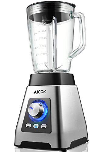 Frullatore, Aicok Frullatore per Frullati e Smoothie 1000W,6 Lame Tritaghiaccio in Acciaio Inox, 7 Velocita+Pulse, 24000 RPM, Tazza Graduata da 1,5 L, Senza BPA