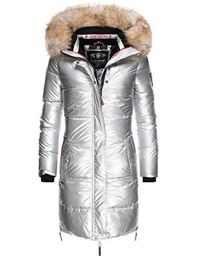 Navahoo - Cappotto Invernale Trapuntato da Donna con Pelliccia Sintetica Rimovibile Halina 5 Colori S - XXL Argento M