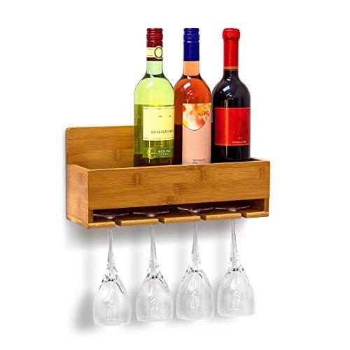 Relaxdays Scaffale Portabottiglie Vino con Porta Bicchieri Integrato per 4 Bottiglie e...