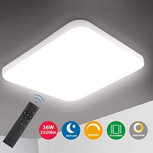 Oeegoo LED Deckenleuchte Dimmbar, 36W 2520Lm led Deckenlampe dimmbar mit fernbedienung, Helligkeit und Farbtemperatur einstellbar, Flimmerfreie Wohnzimmerlampe, Schlafzimmerlampe, Kinderzimmerlampe