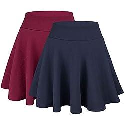WinCret Falda Mujer Mini Elástica Plisada Básica Multifuncional Corto Patinador para la Escuela, la Oficina, Las Fechas y Las Fiesta
