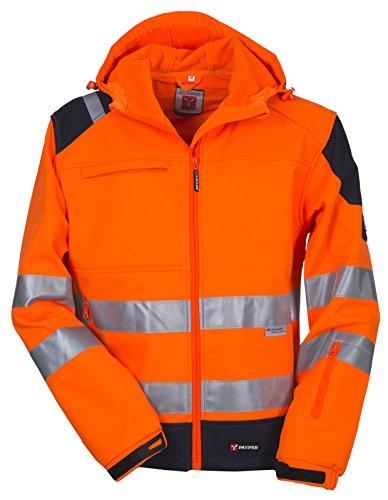 Giacca Da Lavoro Termica Tecnica Softshell Alta Visibilità Con Cappuccio Shine, Colore: Arancio Fluo, Taglia: L