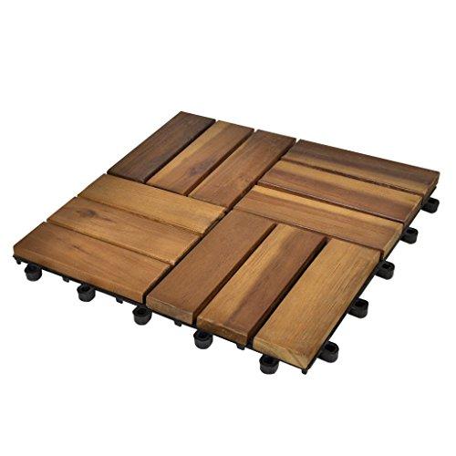 vidaXL Set 20 pz Piastrelle acacia per pavimento giardino esterno 30 x 30 cm