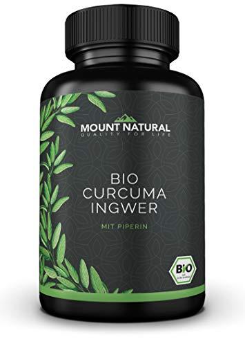Bio Curcuma & Bio Ingwer & Bio Pfeffer (180 Kapseln), NEUARTIGE KURKUMA KOMBINATION: Curcumin & Gingerol & Piperin. Hochdosiert, vegan, laborgeprüft ohne Zusatzstoffe. EINFÜHRUNGSPREIS!