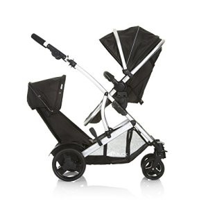 Hauck/ Duett 2/ Poussette Double/ pour deux enfants/ nacelle naissance transformable en assise réversible/ assise basse pour enfant amovible/ poignée réglable en hauteur/ Black (Noir)