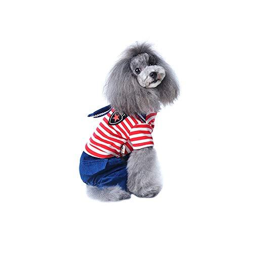 Lazzboy Abbigliamento Pet Cucciolo Camicia Estiva Gatto Gilet T-Shirt Peng Marina Militare Felpe Top a Righe Jeans Cane(XL,Rosso)