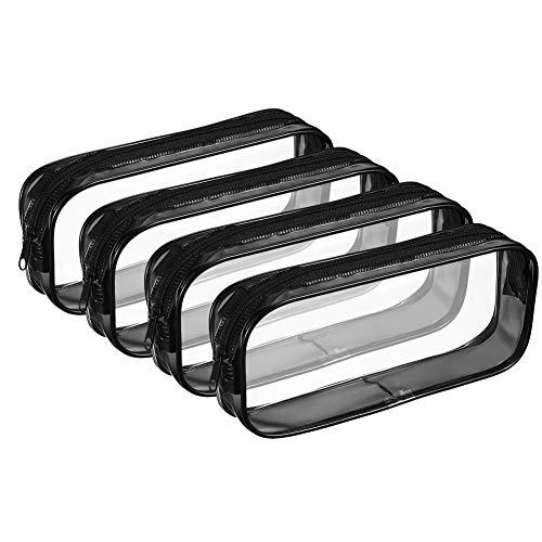 Bolonbi - Astuccio trasparente per matite e trucchi, in PVC, con cerniera, 4 pezzi Nero